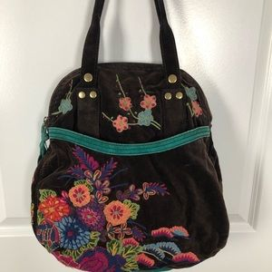Lucky Brand | Velvet & Suede Embroidered Bag F01